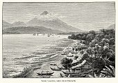 Maluku,Volcano,Indonesia,Indonesian Culture,Ilustration,Engraved Image,Land,History,Land Feature,Tidore Volcano,Old,Styles,Southeast Asia,Natural Phenomenon,Coastal Feature,Beach,stratovolcano,Old-fashioned,The Past,Cultures,Obsolete,Mountain,19th Century Style,Asia,Asia Pac,Antique,Active Volcano,Image Created 19th Century,Coastline