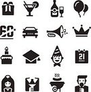 Cake,Gift,Bottle,Public Speaker,Music,Alcohol,Vector,Black Color,Champagne,Birthday,Cocktail,Holiday,Symbol,Computer Icon,Silhouette,Celebration,Event,Anniversary,Barbecue Grill,Wedding,Balloon
