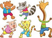 Child,Vector,Cute,Isolated,Ilustration,Laughing,Set,Walking,Tiger,Happiness,Raccoon,Giraffe,Young Animal,Animal,Bear,Cartoon,Fun,Doodle,Group Of Animals