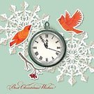 Craft,Christmas,Clock,Decoration,Rowanberry,Season,Craft Product,Cut Out,Snowflake,Bird,Vector,Greeting,Paper,Backgrounds,Old,Folded,Branch,Origami,Watch,Holiday,Berry Fruit,Time,Scrapbook,Cardinal,Red,Winter