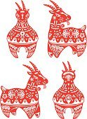 Goat,Chinese Zodiac Sign,Sheep,Chinese New Year,Chinese Culture,Chinese Ethnicity,East Asian Culture,Blossom,Mid-Autumn,Young Animal,Pattern,Zodiac Earth Sign,Back - Furniture Part,Traditional Festival,Vector,Standing,Design,Symbol,new year day,Red,Astrology Sign,paper cut,paper-cut,Front View