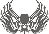 Human Skull,Motorcycle,Artificial Wing,Design,Ilustration,Insignia,Vector