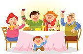 Family,Meal,People,Eating,Grandparent,Laughing,Food,Fun,Home Interior,Men,Togetherness,Ilustration,Women,Party - Social Event,Table,Grandson,Son,Alcohol,Wine,Vector,Happiness,Holiday,Cartoon,Dinner,Child,Love,Enjoyment,Parent,Grandfather,Little Boys,Grandmother,Real People,Event,Drink,Drinking,Dinner Party,Wine Bottle,Celebratory Toast,Image,Celebration,Cheerful