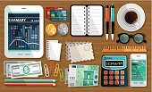 Envelope,Calculator,Paper Clip,Credit Card,Graph,Vector,Technology,Pencil,Equipment,Telephone,Business,Table,Document,Diary,Currency,Desk