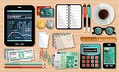 Calculator,Desk,Envelope,Paper Clip,Credit Card,Graph,Vector,Technology,Pencil,Diary,Telephone,Business,Table,Document,Currency,Equipment