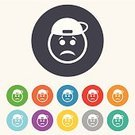 Creativity,Vector,Shape,Token,Label,Badge,Computer Graphic,Red,Circle,Blue,Yellow,Geometric Shape,Symbol,Sign,Ilustration,Human Face,Application Software,Multi Colored,template,Cute,Sadness,Eyebrow,Cap,Hat,Emotion,People,Backgrounds
