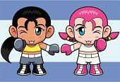Boxing,Cartoon,Little Girls,Manga Style,Combat Sport,Sport,Characters,Punching,Cute,Action,Sign,Vector,Clip Art,Humor,Sports And Fitness,People,Design,Emotion,Creativity,Drawing - Art Product