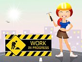 Cartoon,Construction Industry,Famous Place,Sign,Traffic,Manual Worker,Smiling,Work Hat,Security,Occupation,Street,Danger,Cone,Women,Ilustration,Journey,Repairing,Progress,Safety