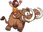 Mammoth,Cartoon,Caveman,Excitement,Prehistoric Era,Beard,Ilustration,Running,Men,Riding,Color Gradient,Vector,Isolated,Characters,Riding,Cheerful