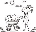 Mother,Walking,Child,Vector,Line Art,Baby Carriage,Family,Sketch,Parent,Baby,People,Springtime,Coloring Book,Black And White,Domestic Life,Outdoors,Cute,Cartoon,Drawing - Art Product,Sun,Summer,Outline,Ilustration,Characters,Cheerful,Child's Drawing,Adult,Happiness