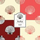 Scallop,Scallop,Vector,Animal Shell,hand drawn,Pen And Ink,Pattern,Seafood,Old-fashioned,Ilustration,Etching,Repetition,Sea,Seamless