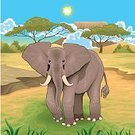 Ilustration,Elephant,Vector,Cartoon,Animal,Africa,Non-Urban Scene,Tree,Color Image,African Descent,Tusk,Landscape,Desert,Mountain,Scenics,Nature,Proboscis,Animals In The Wild,Pachyderm
