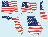 Florida,Georgia,state,Striped,Patriotism,Delaware,Outline,USA,American Flag,Flag,Election,Red,White,Ilustration,Colorado,Connecticut,Fourth of July,Vector,Blue,Star Shape,Freedom,Vector Ornaments,Vector Icons,Illustrations And Vector Art,nation,Independence,National Landmark