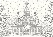 Christmas,Black And White,Vector,Holiday,Coloring Book,Moroz,grandfather frost,Santa Claus,Christmas Tree,Christmassy,December,Outline,cartoony,st claus,Santa Claus Village,Santa's House,jack frost,Winter,Cartoon,Ilustration,black-and-white,New Year's Day,New Year's Eve,Nicholas,Joulupukki,kriss kringle,New Year,St Nicholas