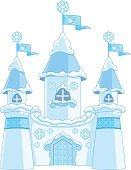 Princess,Snow,Castle,Building Exterior,Fairy Tale,Built Structure,Fantasy,kingdom,Isolated,Cartoon,Tower,Magic Trick,Crown,Palace,Vector,White Background,Snowflake,Winter,Flag,Blue,House