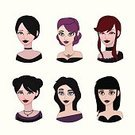 Gothic Style,Human Body Part,Human Face,Halloween,Leather,Adult,Cute,Illustration,Females,Women,Vector,Goth,Characters,Avatar