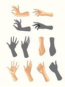 Human Hand,Silhouette,Anatomy,Human Finger,Thumb,Gesturing,Action,Number 6,Set,Ilustration,Group of Objects,Actions,Illustrations And Vector Art