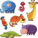Elephant,Vector,Alligator,Cute,Hippopotamus,Set,Animal,Africa,Reptile,Parrot,Mammal,Tropical Rainforest,Art,Smiling,Childhood,White Background,Isolated On White,Characters,Design Element,Fun,White,Giraffe,Cub,Bird,Animals In The Wild,Zoo,Tiger,Snake,Safari Animals,Isolated,Cheerful,Crocodile,Ilustration,Computer Graphic,Humor,Collection,Wildlife,Design,Cartoon