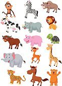 Zebra,Safari Animals,Bear,Leopard,Humor,Fun,Cartoon,Group Of Animals,Hippopotamus,Mammal,African Buffalo,Cheerful,American Bison,Horse,Waving,Ilustration,Smiling,Tortoise,Set,Turtle,Mascot,Happiness,Elephant,Brown,Animals In The Wild,Cow,Waving,Ape,Giraffe,Animal,Vector,Farm,Monkey,Characters,Rhinoceros,Deer,Lion - Feline