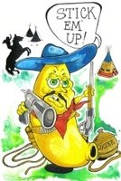 Cartoon,Fruit,Cowboy,Determination,Conflict,Paintings,Banana,Art,Wild West,Violence,Challenge,Ilustration,Gun,Humor,Painted Image,lawman,Art Product,New,Battle,gunfight,Drawing - Art Product,Texas,Handgun,Sheriff,Weapon,Fighting,Teepee,Gunslinger,Old-fashioned,Creativity,Arid Climate,Danger,Concepts And Ideas,Shooting,Defending,Outdoors,Rough,Gunpowder,Shootist,Hat,Rustic,Focus - Concept,Protection,Fun,Problems,Aiming,Tent,Food And Drink,Aggression