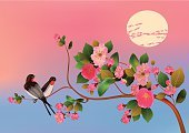 Backgrounds,Japan,Branch,Cherry,Chinese Culture,Blossom,Beauty In Nature,Asia,Beautiful,Romance,Flower,Season,Japanese Culture,Vector,Isolated,Harmony,Symbol,Nature,Plant,Petal,Style,Safety,Green Color,East,Design,Ornate,Decoration,Easter,Tropical Climate,Ornamental Garden,Leaf,Dinner Party,Cultures,Pink Color,Tree,Ilustration,White,Summer,Light - Natural Phenomenon,Cherry Blossom,East Asian Culture,Springtime,Freshness