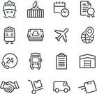 Symbol,Computer Icon,Icon Set,Thin,Single Line,Handshake,Black And White,Freight Transportation,Shipping,Certificate,Distribution Warehouse,Storage Room,Vector,Warehouse,Airplane,Calendar,Freight Train,Delivering,Design Element,Truck,Mini Van,Box - Container,Transportation,Checking the Time,Business,Cargo Container,Pick-up Truck,Customer Service Representative,Dry-cargo Ship,Crate,Timer,Ship,Service,Document,Industrial Ship,Currency,Checklist,Telephone,Call Center,Van - Vehicle,Airport,Contract,Commercial Dock,Mode of Transport,Package,Railroad Track,Train