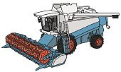 Vector,Working,Cartoon,Blue,White,Red,Agriculture,Land,Farm,Harvesting,Motor Vehicle,Machinery,agronomic,Combine Harvester