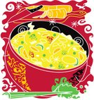 Soup,Cooking Pan,Noodles,Chicken Soup,Chicken Noodle Soup,Vector,Ilustration,Dinner,Celery,Meal,Steam,Vegetable,Healthy Eating,Heat - Temperature,Carrot,Green Pea,Fruits And Vegetables,Cooking,Abstract,Food And Drink,Illustrations And Vector Art