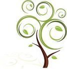 Tree,Swirl,Leaf,Growth,Branch,Green Color,Vector,Surreal,Nature,Summer,Ilustration,Ethereal,Fantasy,Clip Art