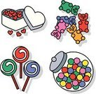 Candy Store,Gummy Bear,Candy,Lollipop,Store,Religious Icon,Symbol,Sweet Food,Icon Set,Vector,Unhealthy Eating,Ilustration,Junk Food/Fast Food,Red Hots,Eating,gum balls,Valentine's Day,Food And Drink