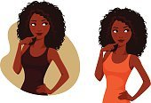 Casual Clothing,Uncertainty,Contemplation,Decisions,Human Hair,Curly Hair,African-American Ethnicity,Curiosity,Ethnicity,Beauty,Adult,Young Adult,Cut Out,Cute,Illustration,Afro,Females,Women,Vector,African Ethnicity,Beautiful People,Ideas,60500,61883,61184,60956