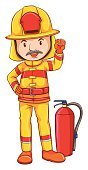 Clothing,Fire Extinguisher,Heroes,Vector,Firefighter,Men,Clip Art,White Background,Close-up,Computer Graphic