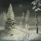 Winter,Painting,Night,Snow,Landscape,Tree,Holiday,Pine,Fog,Moon,Snowing,Ice,Art,Dark,Humor,Symbols Of Peace,Painted Image,Pine Tree,Vacations,Tranquil Scene,Coniferous Tree,River,Spruce Tree,White,Serene People,Finger on Lips,Silence,Reflection,Relaxation,Frozen,Visual Art,Winter,Holidays And Celebrations,Christmas,Contemplation,Arts And Entertainment,Nature,Slush,Resting