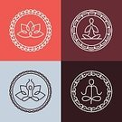 Yoga,Buddha,Text,Sign,Leaf,Label,Ilustration,Sport,Insignia,Badge,Outline,Vector,Symbol,Computer Graphic,Lifestyles,Ornate,Balance,Spirituality,template,Relaxation