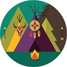 Dreamcatcher,American Culture,Indigenous Culture,North American Tribal Culture,USA,Mountain,Image,Dreamlike,Native American,Vector,Colors,Green Color,Tent,Flat,Ilustration,Pattern,Design,Fire - Natural Phenomenon,Circle,Cartoon,Fir Tree,Arrow,Human Skull,Retro Revival,Label,Bonfire,Computer Graphic,Feather,Style,Purple,Turquoise,Backgrounds,Symbol,Art,Wigwam