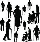 Wheelchair,Walking,Stick - Plant Part,Aging Process,Backgrounds,Silhouette,Multi-generation Family,Family,Grandmother,Vector,People,Men,Ilustration,Women,Senior Adult,Grandfather