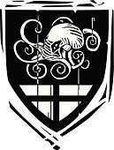 Military,Insignia,Fantasy,heraldic,Family,Symbol,Medieval,Nobility,Protection,Knight,Decoration,Octopus,Majestic,Monster,templar,Royal Person,The Crusades,Frame,Sea,Woodcut,Adventure,Ancient,The Past,Coat Of Arms,History,Kraken,King,aristocracy,Suit of Armor,Sign,Shield,Battle,Banner,Arthurian Legend,Backgrounds,Queen