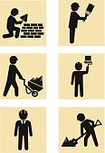 Construction Worker,Symbol,Vector,Road Construction,Manual Worker,Carpenter,Occupation,Architecture,Men,Carrying,Toolbox,Repairing,Building Contractor,Computer Graphic,Slavery,Improvement,Construction Industry,Sign,Home Improvement,Equipment,People,Wheelbarrow