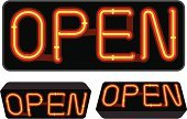 Open Sign,Neon Light,Open,Tube,Business,Vector,Electricity,Light - Natural Phenomenon,Lighting Equipment,Red,Ilustration,Business Symbols/Metaphors,Vector Icons,Illustrations And Vector Art,Luminosity,Realism,Business