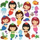 Mermaid,Cartoon,Fish,Animal Themes,Little Girls,Sea Life,under the sea,Stage Costume,Animal,Atlantic Ocean,Cheerful,Coral,Cute,Child,Collection,Sea,themed,Princess,Smiling,Sea Horse,Turtle,Preschool,Set,Clip Art,Computer Graphic,Eps10,Animal Shell,Happiness,Characters,Jellyfish,Swimming Animal,Polka Dot,Isolated,People,Decoration
