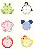 Clock,Frog,penquin,Cute,Humor,Alarm Clock,Clock Face,Fun,Bear,Chicken - Bird,Flower,Apple - Fruit,Time,Fruit,Bird,o'clock,Minute Hand,Concepts And Ideas,Illustrations And Vector Art,Funny Clock,Objects/Equipment,Household Objects/Equipment,Vector Cartoons,Second Hand,Imagination