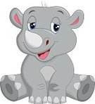 Characters,Humor,Cute,Cartoon,Young Animal,Smiling,Rhinoceros,Animal,Fun,Gray,Forest,Ilustration,Mascot,Animals In The Wild,Sitting,Happiness,Cheerful,Mammal,Vector