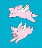 Pig,Flying,Artificial Wing,Wing,Cartoon,Side View,Pink Color,Vector,Cute,Illustrations And Vector Art,Farm Animals,Vector Cartoons,Animals And Pets,lovable,Caricature,Smiling,Front View