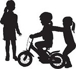 Family,Silhouette,Child,Cycling,Togetherness,Action,Elementary Age,Sister,Vector,Childhood,Fun,Sibling,Ilustration,People,Backgrounds,Joy,Friendship,Lifestyles