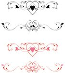 Swirl,Heart Shape,Scroll Shape,flourishes,Ornate,Pink Color,Red,Vector,Abstract,Valentine's Day,Vector Ornaments,Holidays And Celebrations,Design,Curve,Pattern,Illustrations And Vector Art