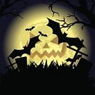 Tree,Undead,Vector,Old-fashioned,October,Moon,Cemetery,Greeting,Halloween,Ilustration,Animal