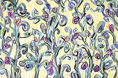 Cultivated,Art,Impressionism,Pastel Drawing,Backgrounds,Creativity,Plant,Flower,floreal,Ilustration