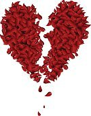 Heart Shape,Broken,Relationship Difficulties,Petal,Falling,Broken Heart,Breaking,Valentine's Day - Holiday,Cracked,Dead Plant,Sadness,Dead Person,Death,Leaf,Grief,Holidays And Celebrations,Vector Florals,Illustrations And Vector Art,Depression - Sadness,Red,Falling Petals
