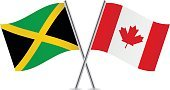 Canadian Flag,Vector,Sign,Curve,Banner,Pole,Jamaican Flag,Isolated On White,White Background,Canada,Two Objects,Computer Icon,Symbol,National Flag,Small,Ilustration,Flag,Waving,Jamaica