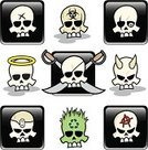 Human Skull,Devil,Pirate,Cute,Biohazard Symbol,Cartoon,Evil,Symbol,Halo,Recycling Symbol,Characters,Religious Icon,Halloween,Vector,Death,Spooky,Chaos,Sword,Horror,Human Bone,Metal,Warning Symbol,Large Group of Objects,Ilustration,Adults,Square Shape,Image Created 2000s,No People,Concepts And Ideas,Communication,Lifestyle,Illustrations And Vector Art,Horned,Square